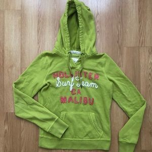Hollister lime green hoodie gently used